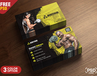 Gym Fitness Trainer Business Card PSD