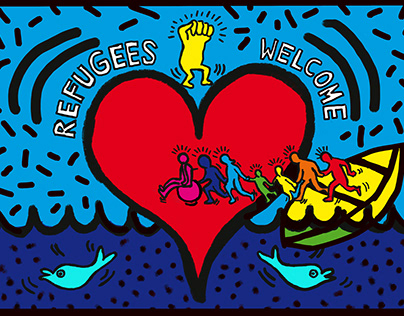 #Refugees Welcome #AdobexKeithHaring #contest