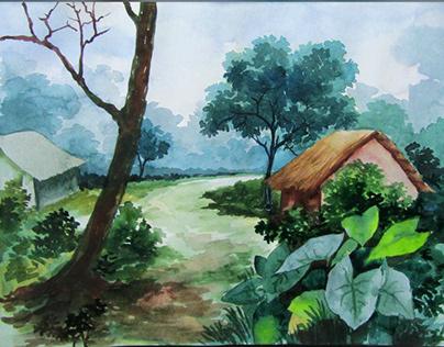 Watercolor painting landscape village