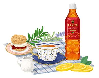 《 KIRIN午後紅茶》提袋插畫