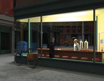 Edward Hoppers «Nighthawks» in 3D