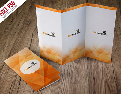 Freebie : Tri-Fold Brochure Mockup Free PSD
