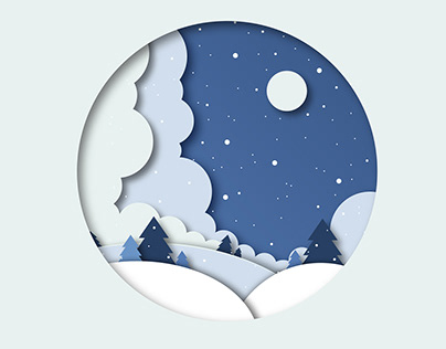 WINTER PAPER CUT OUT EFFECT ILLUSTRATION