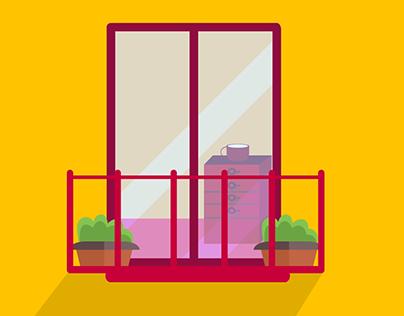building with balcony | Flat Art