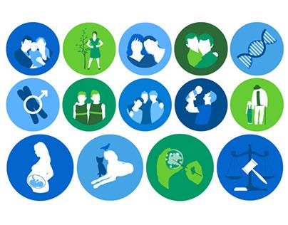 DNA Relationship Testing Icon Set