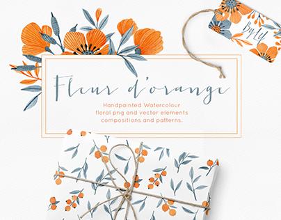 Fleur d'orange floral watercolor graphics