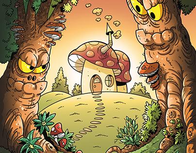 Fairytale forest illustration for children