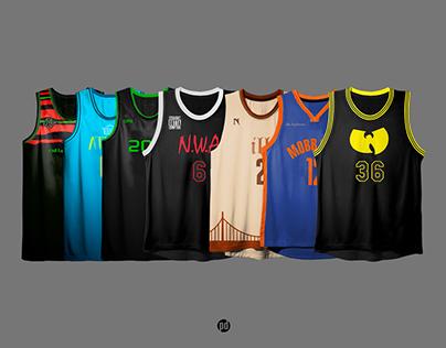 Old School Hip-Hop Albums x Basketball Jerseys