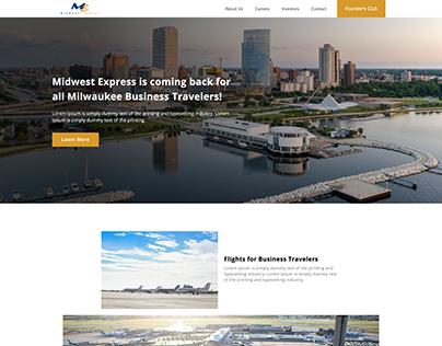 Website Design Mockup for Start Up Airline