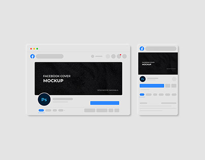 Facebook Cover Mockup with dark and light mode
