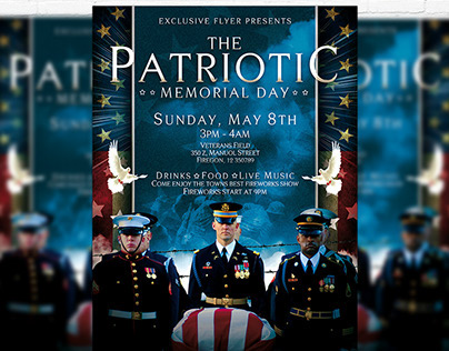 Patriotic Memorial Day – Premium Flyer + Facebook Cover
