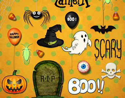 Halloween elements for Web or Scrapbooking