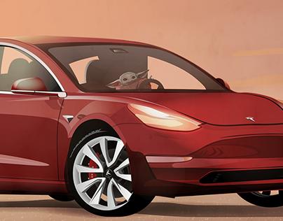Mandalorian & Tesla Poster