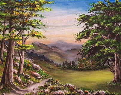 Acrylic Painting Woods Landscape