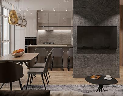 Visualisation kitchen-living room and hallway