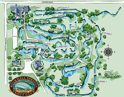 Rockwell Springs Trout Club Map and Logo