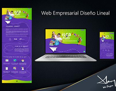 Web empresarial con diseño lineal
