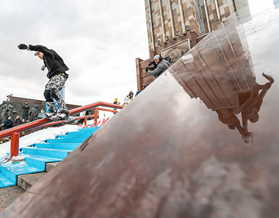 Snowboarding jib contest The King of the Street