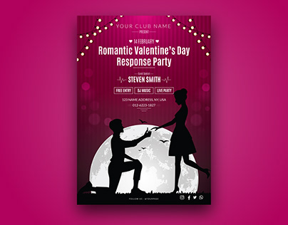 Romantic Valentines Party Flyer Design for free