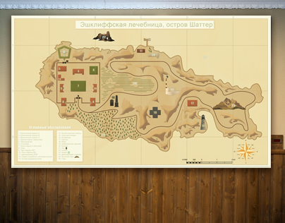 Map design for quest-room «Rabbit Hole Chelyabinsk»