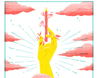 Ace of Wands, risograph