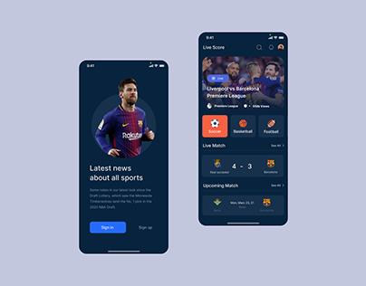 Soccer - Sports Mobile App Design