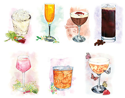 Nobu Hotel Shoreditch Cocktail Bar Illustrations