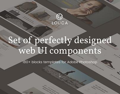 Louca UI Kit — pack of 180+ unique blocks for Photoshop