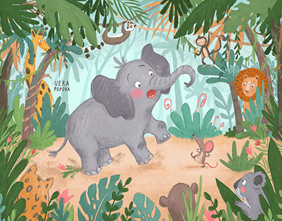 An elephant and a mouse are walking through the jungle
