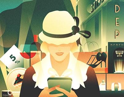 Art Deco inspired illustration for SAAS startup