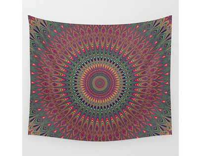 Autumn Star Mandala Wall Tapestry
