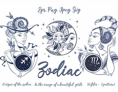 Zodiac. Beautiful girls in the zodiac signs.