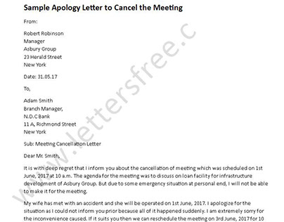Sample Apology Letter to Cancel the Meeting