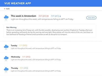 Weather app design for a Vue.js course