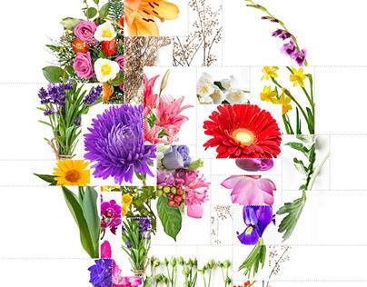 Skull + Flowers Collage Art
