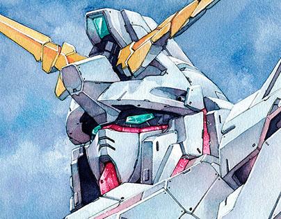 Gundam Unicorn watercolor