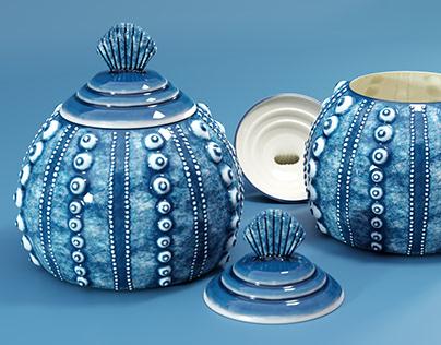 Sea Urchin Ceramic Vase - CGI