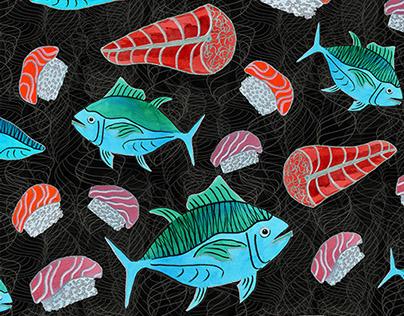 Allover Sushi Print