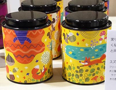 Exhibition of tea can of autumn textile