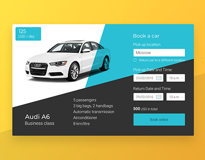 Widget for rental car website