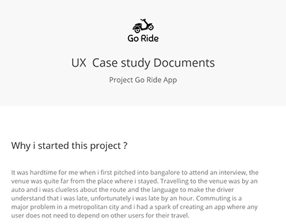 UX Case Study : Go Ride App
