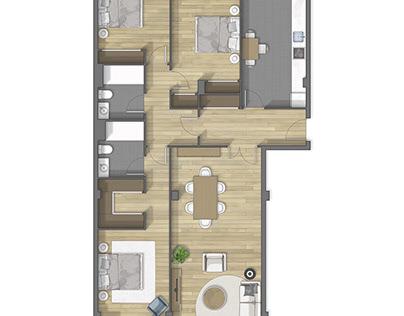 Floor plan 2D rendering in Madrid