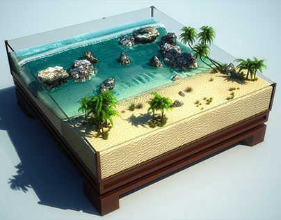 Miniature Beach - RealFlow Hybrido Simulation