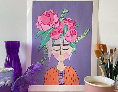 Femme-Fleur Pivoines
