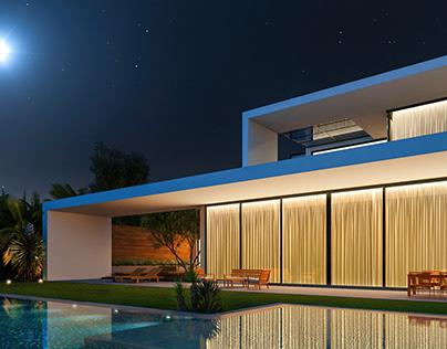 Sea Front Villa. Night. CGI.