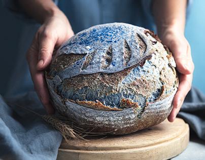 Blue sourdough bread