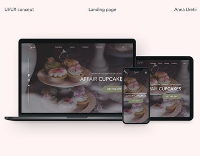 Landing page for Cupcake Shop