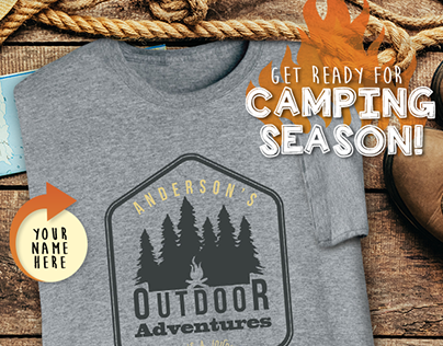 "Camping Season ""Your Name"" T-Shirts Email Design"