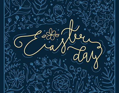 Easter day, Doodle, Calligraphy, Handwritten, Floral