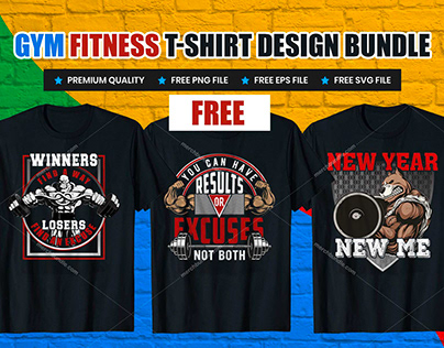 Best Gym Fitness T-Shirt Design Free Download.